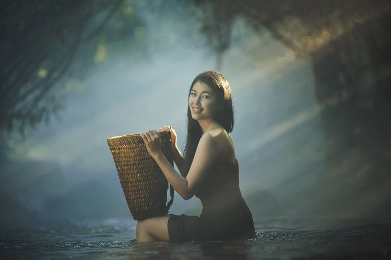 Asia, Asian, Beautiful, Girl, Holiday, Light, River, Thai, Thailand, Water, Waterfall, Woman Asian girl take a bath in riverphoto preview