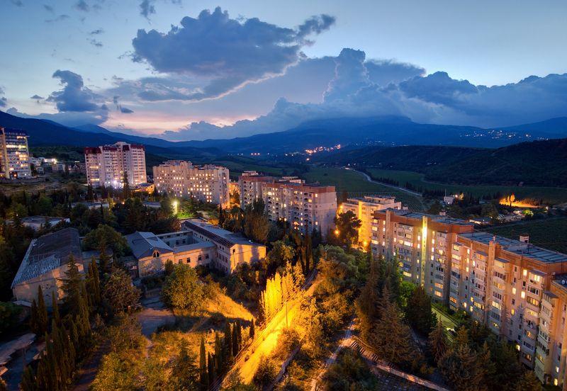 горы, закат, urban exploration, алушта, крым, ночь, двор, hdr Алушта после закатаphoto preview