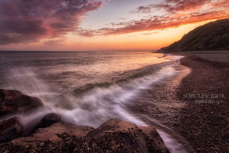 Черное море, Россия, вечер, закат, море, прибой, берег, облака, Джубга Прибойphoto preview
