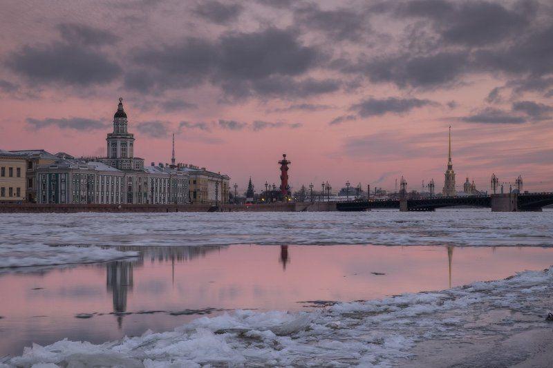 санкт-петербург, нева, утро, рассвет, зима, мост, петропавловка, ледоход, лед про утро 30 декабря 2015 года...photo preview