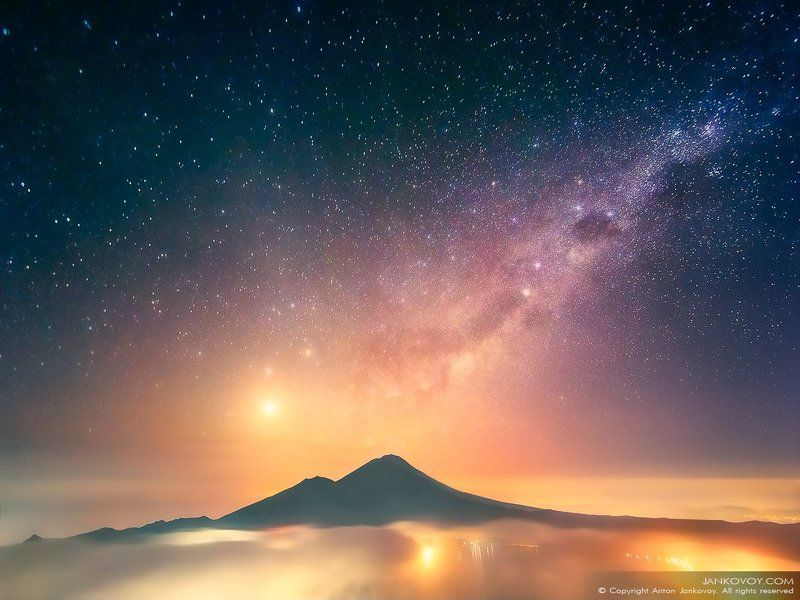 Indonesia, Bali, volcano, mountain, night, stars, travel, landscape, hills, Batur, hiking, Asia, island, Venus, Saturn, constellation,  Индонезия, Бали, Батур,горы, вулкан, ночь, звезды, пейзаж, Азия, Венера, Сатурн, созвездие,  Фосфорос (Вестница Света) photo preview