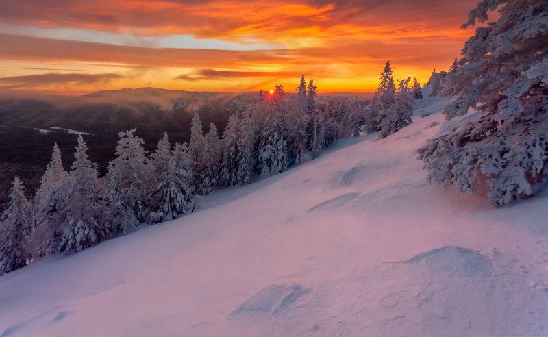 таганай, рассвет, зима, златоуст, урал,  t_berg Про красного зайца на холодных уральских склонахphoto preview
