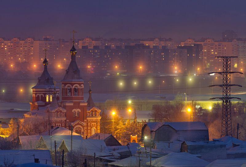 Омск, закат, храм, церковь, город, urban exploration, пейзаж, зима, снег, Новый Год Первый день годаphoto preview