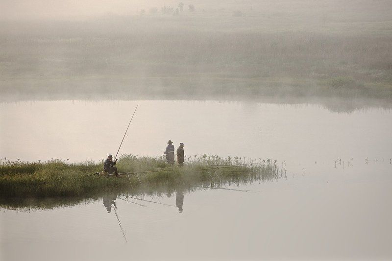 природа, россия, рыболовы, туман, утро поплевать на червяка.photo preview