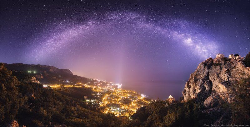 пейзаж, крым, горы, ночное небо, ночь, звёзды, млечный путь, ночной пейзаж, космос, астрофото Млечный Путь над Симеизомphoto preview