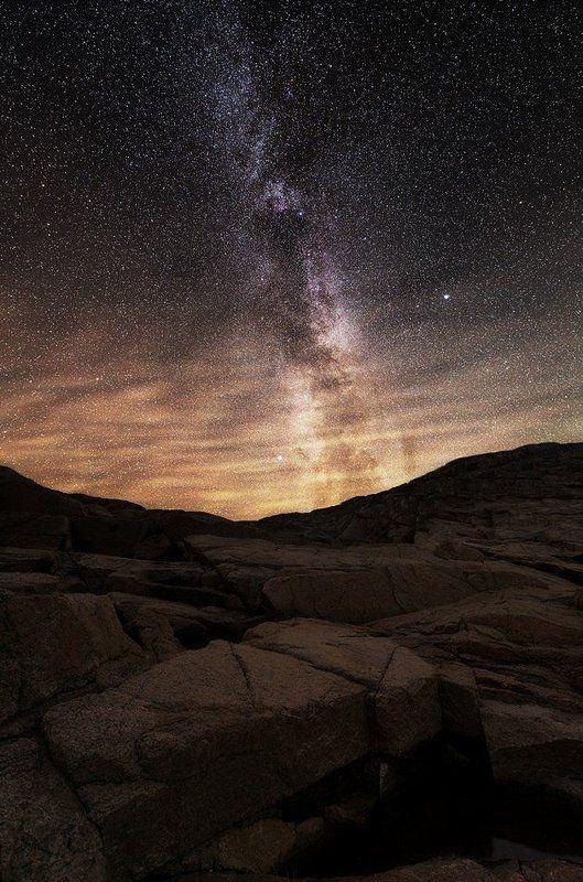 Звезды, Кольский п-ов, Млечный путь, Ночь, Осень, Север, Скалы, Териберка ***photo preview