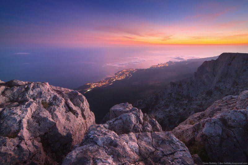 пейзаж, горы, скалы, закат, солнце, небо, облака, сумерки, вечер, крым, ай-петри, туман Закат на Ай-Петриphoto preview