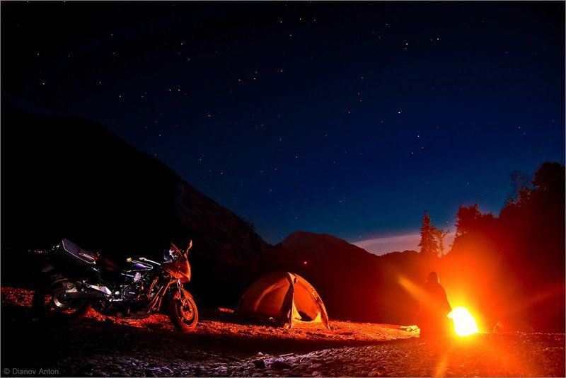 Абхазия, Рица, озеро, ночь, мото, мотоцикл, звезды, горы, путешествие One way to Riza. Nightphoto preview