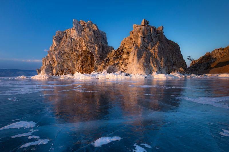 Бурхан, Шаманка, Байкал, лед, скалы, Ольхон, закат Бурхан на закате (2х2)photo preview