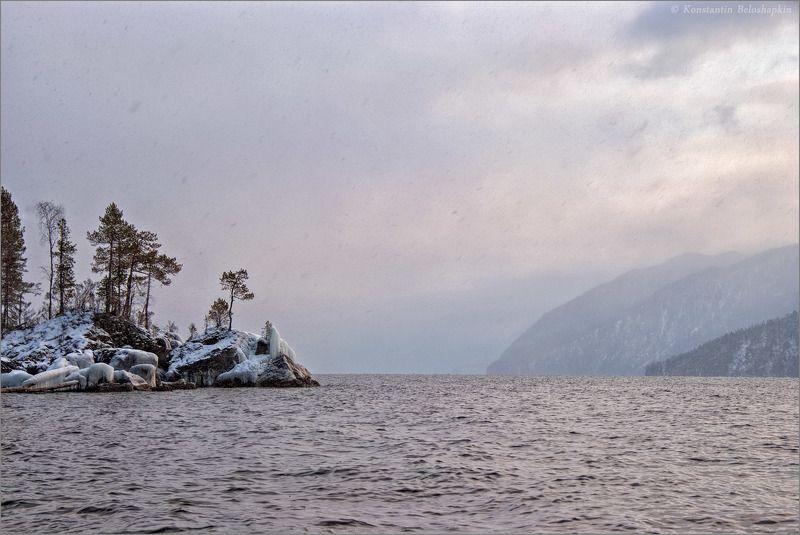 алтай, вечер, телецкое озеро, чичилган, январь У мыса Чичилганphoto preview
