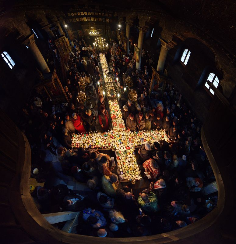 charalambos, liturgy, cross, candles, church, christian, tradition, travel Fire cross liturgyphoto preview
