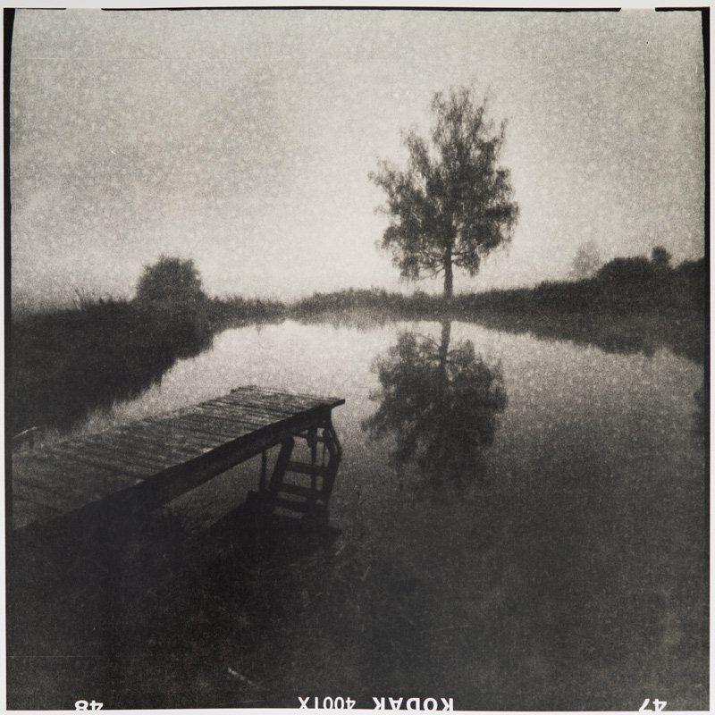 Мостки с деревом в Алексеевском утром осенью. Лит-печать.photo preview