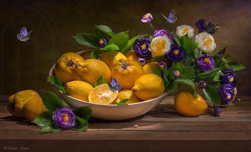 фрукты,айва,лимоны,цветы,букет,натюрморт Фруктовая серияphoto preview