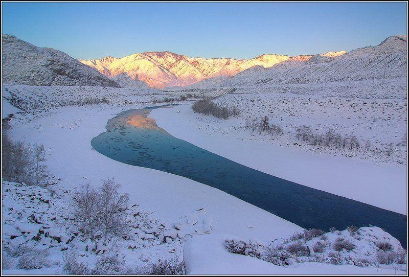 алтай, катунь, зима, закат Укатунский закатphoto preview