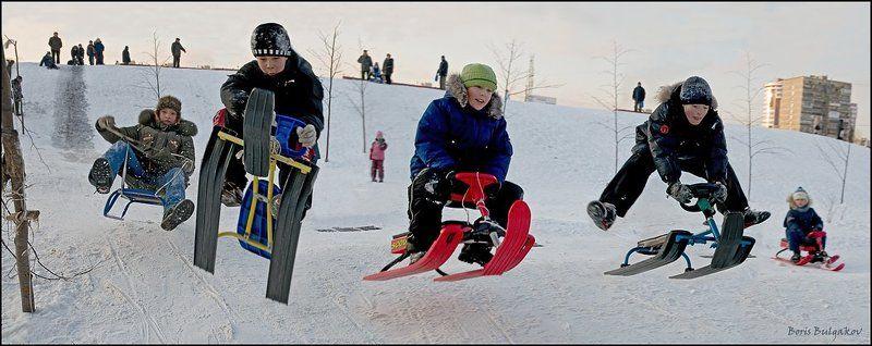 зима, санки, спуск, полёт Масс-финишphoto preview