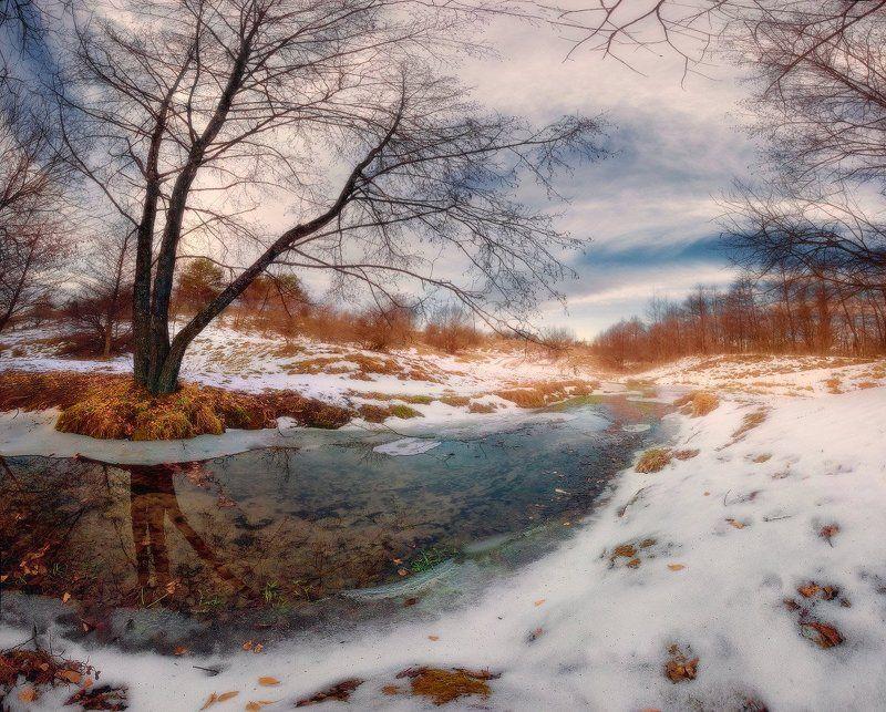вечер, отражение, оттепель, ручей, февраль Дыхание весныphoto preview