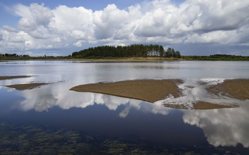 лето река облака берег песок лес Там, где летом плывут облакаphoto preview