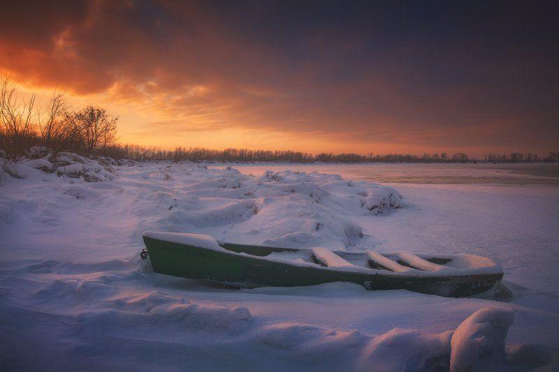 Закат, Зима, Лодка, Озеро, Снег, Шатура * * *photo preview