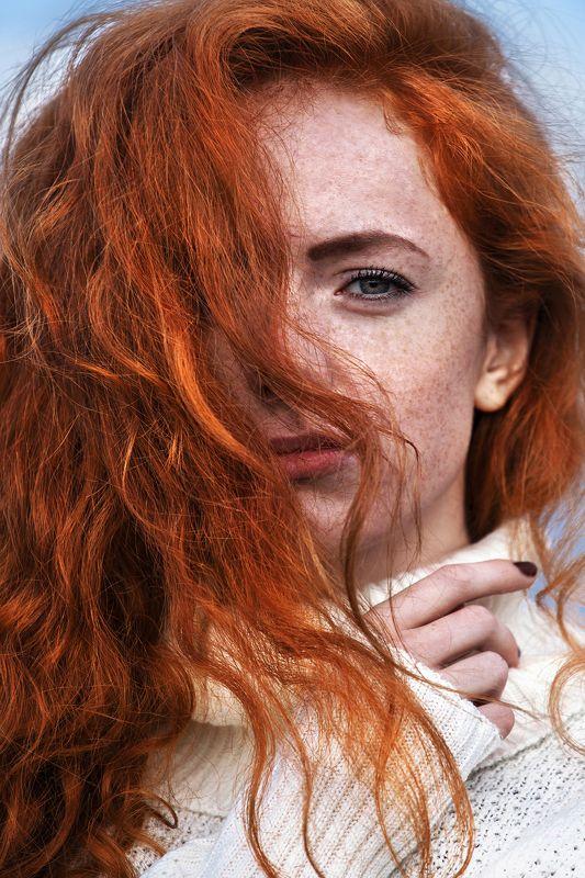 девушка, длинные волосы, рыжая, рыжеволосая, глаза,girl, long hair, red-haired, eye photo preview