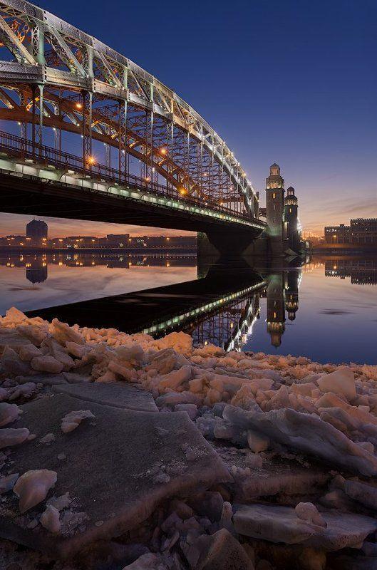 большеохтинский мост, весна, ледоход, мост петра великого, питер, санкт-петербург Санкт-Петербург: Большеохтинский мостphoto preview