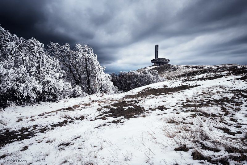 Buzludzha, Balkans, landscape, snow, communism Spring in Balkan mountainphoto preview