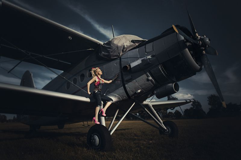 Fashion, Outdoor, Plane, Portrait On the planephoto preview