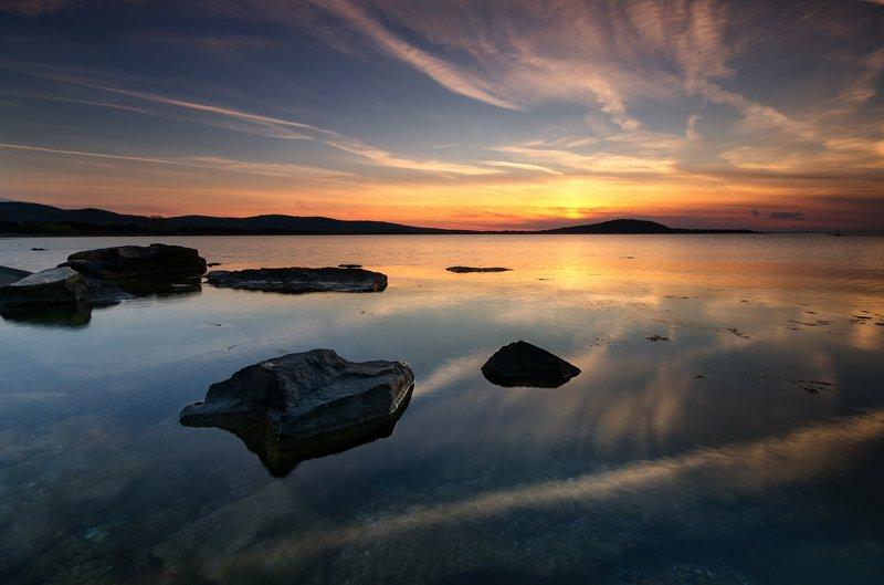 black sea, clouds, fineart, golden hour, landscape, light, reflection, rocks, sea, seascape, sky, sun, sunset Reflections at sunsetphoto preview