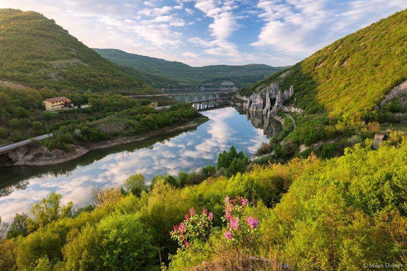 Bulgaria, landscape, spring, river, blossom Springphoto preview