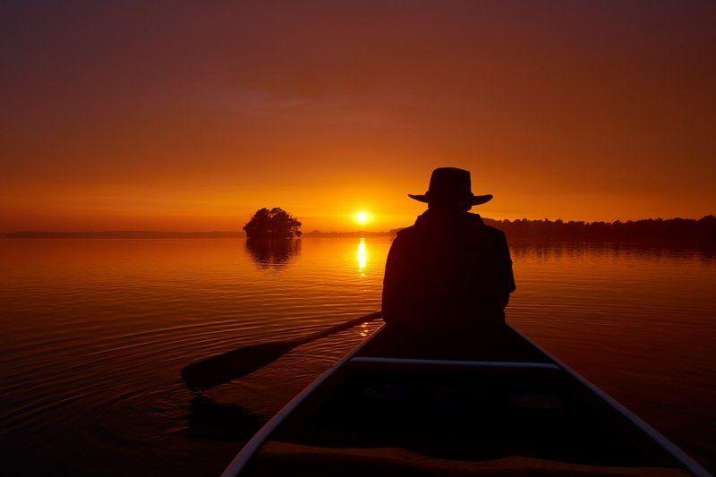 Plön, Plöner See, canoe, sunset Lost in Thoughtphoto preview