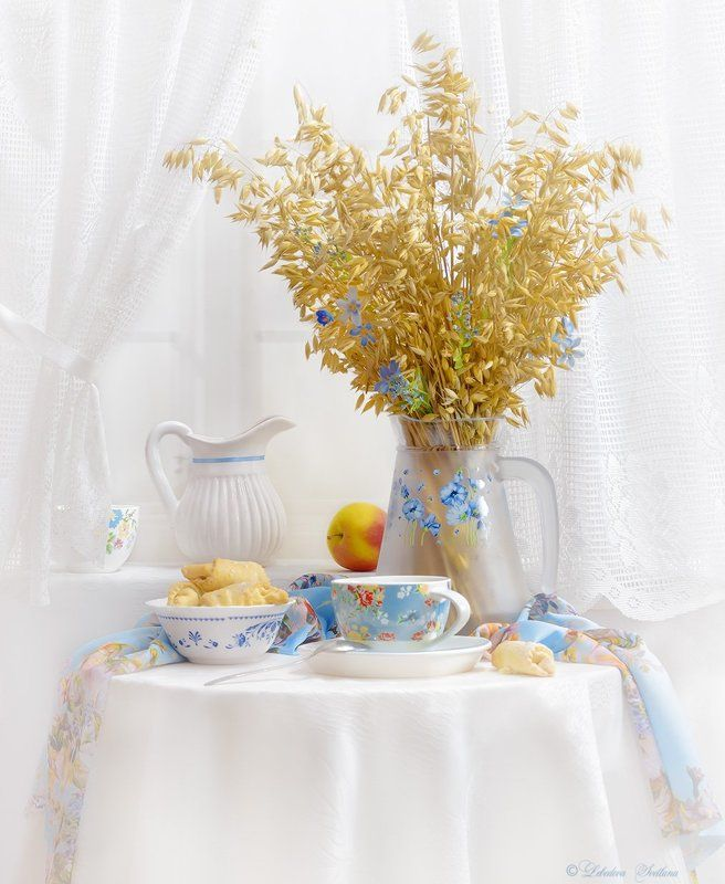 овёс,яблоко,чаепитие,печенье С колосками овсаphoto preview