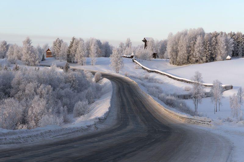зима, дорога, мороз, иней, деревья, музей Из Больших Корел - в Малыеphoto preview