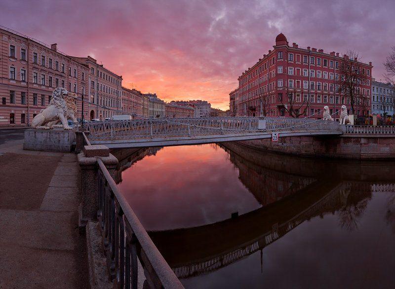 канал грибоедова, львиный мостик, питер, рассвет, санкт-петербург, утро Санкт-Петербург: Львиный мостphoto preview