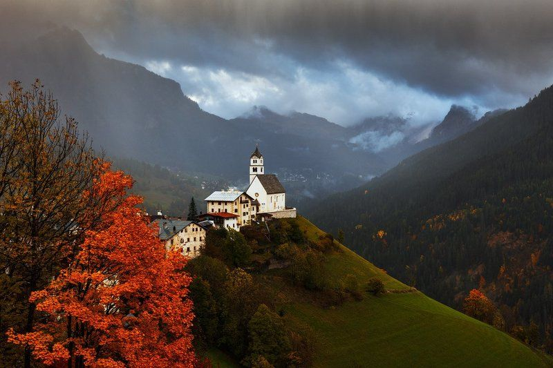 Alps, Church, Clouds, Colors, Dolomites, Dolomiti, Europe, Italy, Landscape, Light, Martin rak, Mountains, Nature, Travel, Trees, Village Rainy Eveningphoto preview