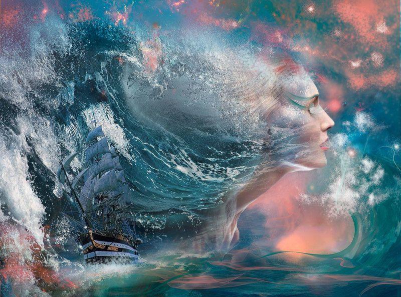 Волны, Корабль, Океан Стихия..photo preview