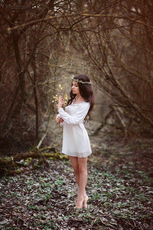 верба, весна, весенний портрет, белое платье, легкость, венок breath of springphoto preview
