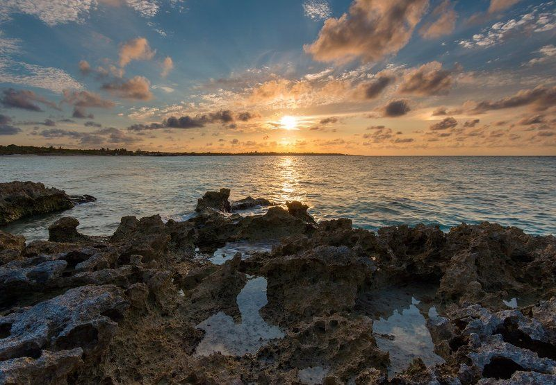 Cuba, Ocean, Rocarena, Rocks, Sunset Rocarena rocksphoto preview