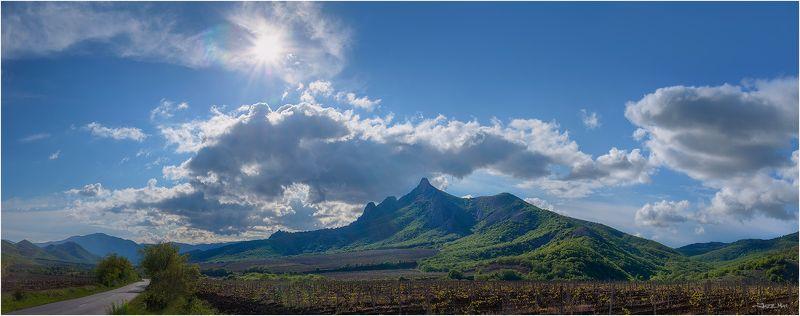 крым, крымские горы, лес, небо, облака, панорама, пейзаж, виноградники, солнце ...photo preview