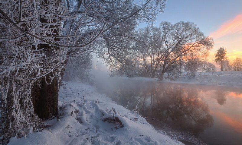 зимний рассвет на речкеphoto preview