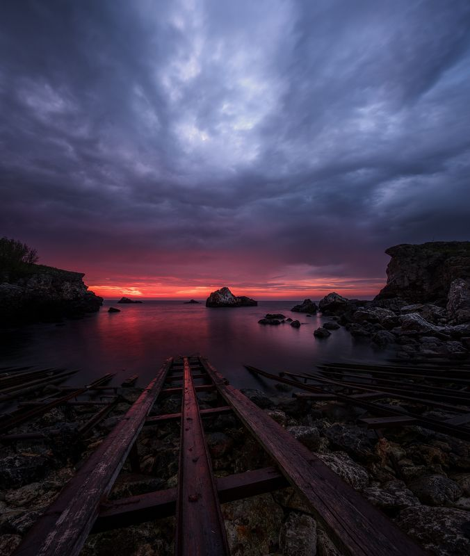 bay, rails, sunrise, sea, tulenovo, bulgaria В заливе Тюленовоphoto preview