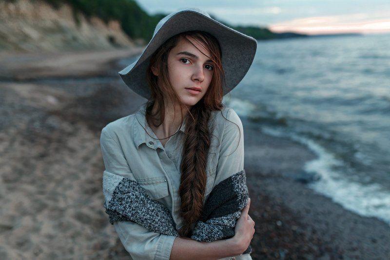 Берег, Девушка, Закат, Ключенков, Море, Портрет Настяphoto preview