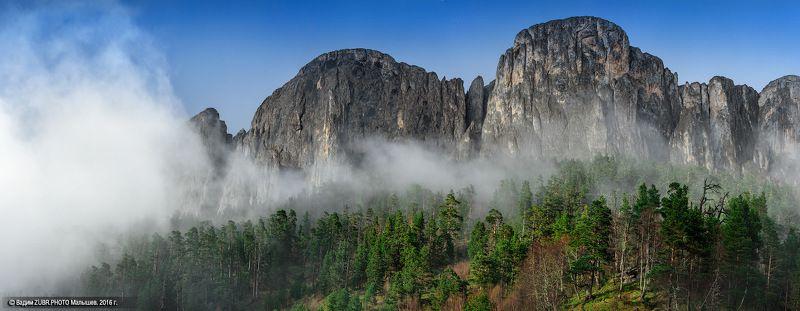 Zubr.photo, Горы, Кавказ, Лес, Панорама, Туман, Тхач Эпоха холодных дождейphoto preview