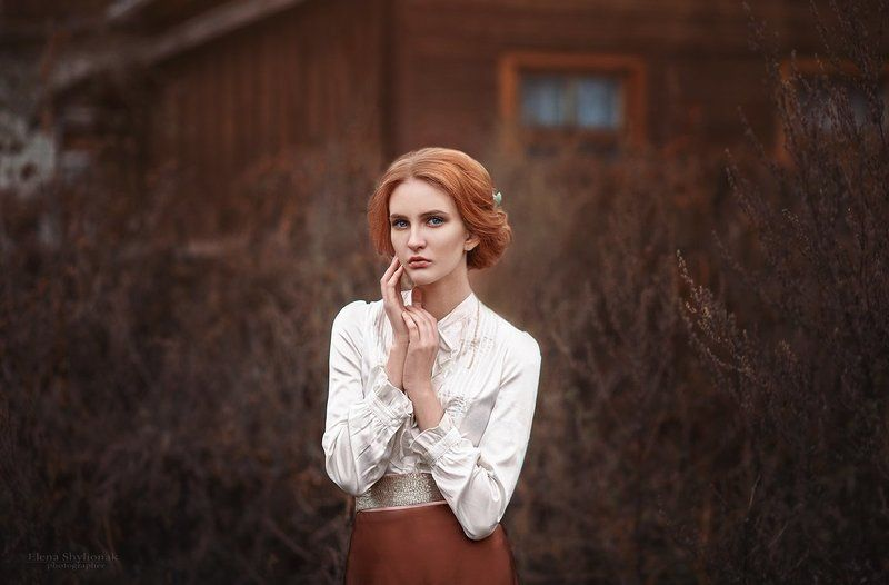 рыжая, осень, грусть, деревня,  девушка, ретро, винтаж nostalgiaphoto preview