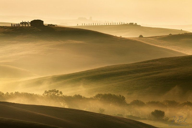 italy, tuscan, tuscan, san quirico d´orcia, pienza, spring, morning, sunlight, mist, fog, clouds, meadow, field, spring meadow,cypress, grove, sun, daniel rericha, Tuscan horizontphoto preview