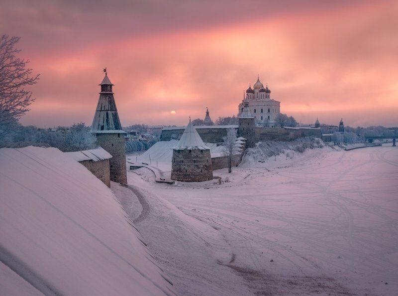 Зима, Крепость, Кром, Псков, Рассвет, Снег, Утро Утро Кромаphoto preview