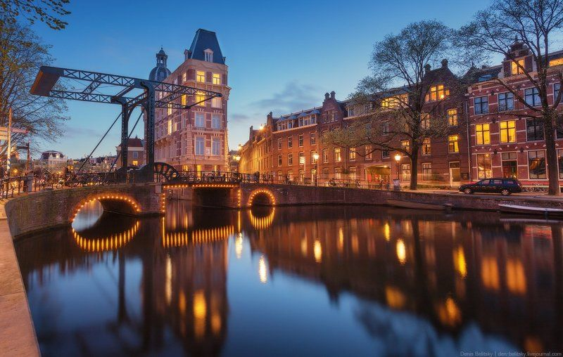 амстердам, голландия, нидерланды, пейзаж, город, дома, вода, канал, река, улица, отражение, сумерки, ночь Ночной Амстердамphoto preview