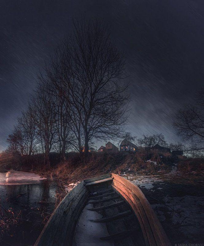 Коростышев, Ночь, Р.Тетерев, Река, Украина, Фотограф в Коростышеве, Чорный В серых каплях дождяphoto preview
