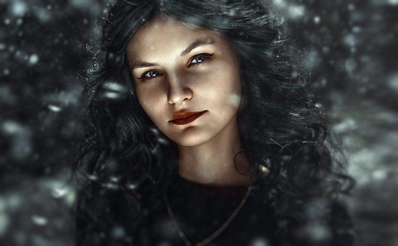 cold, зима, снег, портрет, девушка, холодные цвета, уличный портрет, крупный портрет, ретушь, обработка,  coldphoto preview