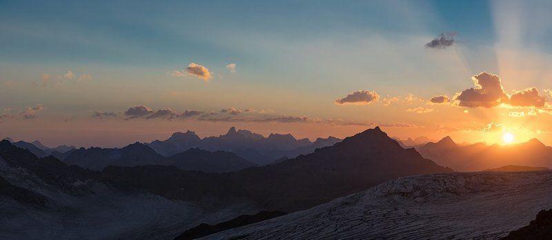 Горы, Закат, Приэльбрусье, Эльбрус Краски горphoto preview