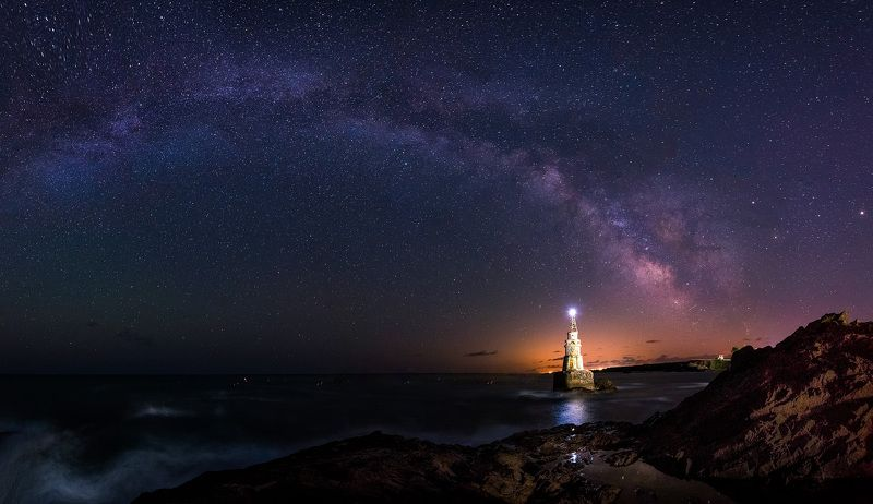 night, stars, milky way, nightsacape, lighthouse,sea, waves, rocks Summer nightphoto preview