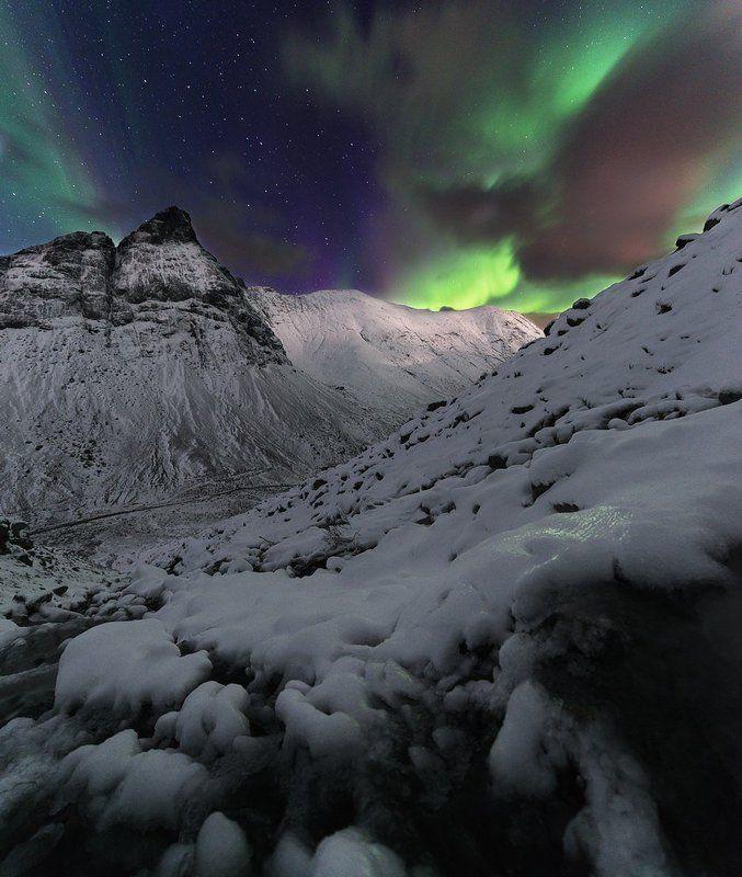 Заполярье, Октябрь, Осень, Северное сияние, Хибины Первый снег в горах.photo preview
